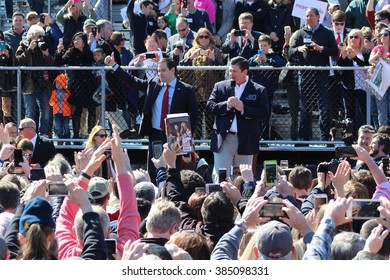 KENNESAW, GA - February 27, 2016: Republican presidential candidate Marco Rubio gives his supporters a thumbs up as he is introduced at a Georgia rally before Super Tuesday