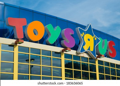 KENNESAW, GA - MARCH 21, 2014: Sign at Toys R Us location in Kennesaw, GA, on March 21, 2014. The retailer announced cuts of 200 jobs at corporate headquarters and plans to close stores nationally.