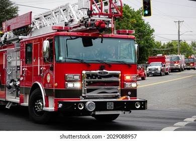 KENNEWICK, WA - AUGUST 21, 2021: Fire truck and other emergency vehicles at the Benton Franklin County Fair parade in Kennewick