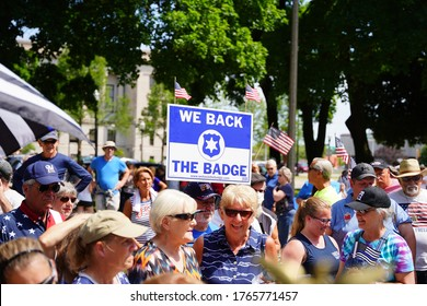 Kenosha, Wisconsin / USA - June 27th, 2020: Many Wisconsinites come out to back the badge rally for blue lives matter law enforcement support rally and rallied together at civic center park.