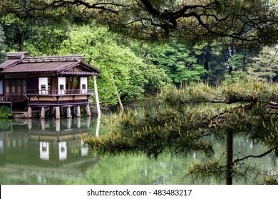 Kenrokuen Beautiful garden in Kanazawa City, Japan.