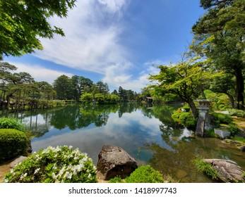 Kenroku-en Garden Pond, Kanazawa, Japan