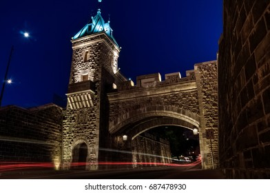 Kent door, arch in fortifications of Quebec city at night, Quebec, Canada