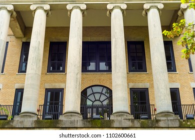 KENT, OH - MAY 21, 2018: Ionic columns form an imposing front entrance to Kent Hall, an academic building in neoclassic style on the KSU campus.