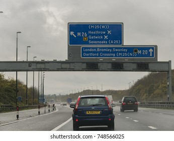 KENT, UK- 04 NOVEMBER 2017- Drivers join the M26 motorway from the M20 in poor driving conditions