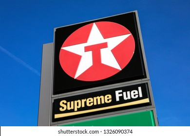 Kent, UK - February 21st 2019: The Texaco logo at a Texaco petrol filling station in Kent, England.