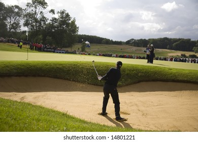 KENT UK JULY 6 Ross Fisher chips in from the bunker to win the PGA European Tour European Open at the London Golf Club Ash Kent England from the 2nd to 6th July 2008