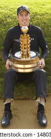 KENT UK JULY 6. Ross Fisher with the trophy having won the PGA European Tour European Open at the London Golf Club Ash Kent England from the 2nd to 6th July 2008