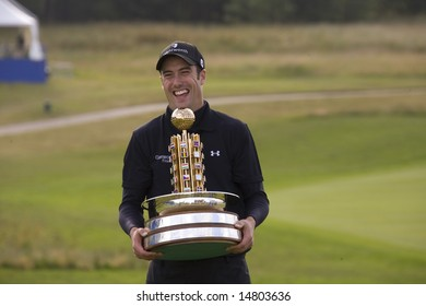 KENT UK JULY 6 Ross Fisher with the trophy having won the PGA European Tour European Open at the London Golf Club Ash Kent England from the 2nd to 6th July 2008