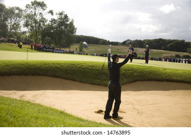 KENT UK JULY 6.Winner Ross Fisher celebrates after chipping in from the bunker to win the PGA European Tour European Open at the London Golf Club Ash Kent England from the 2nd to 6th July 2008