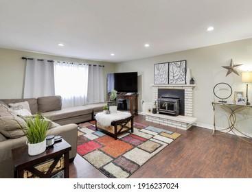 Kent, WA, USA - Feb. 11, 2021: Modern residential living room interior