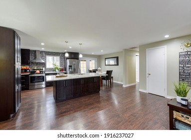 Kent, WA, USA - Feb. 11, 2021: Modern residential living room and kitchen interior