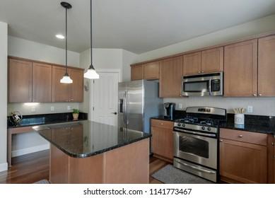 Kent, WA / USA - July 20, 2018: Modern kitchen interior