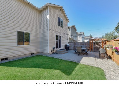 Kent, WA / USA - July 23, 2018: Residential backyard exterior