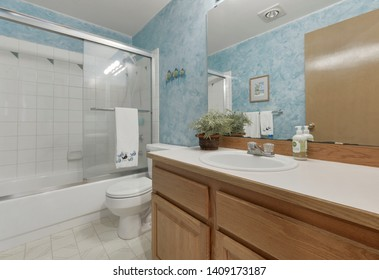 Kent, WA / USA - May 23, 2019: Modern bathroom interior