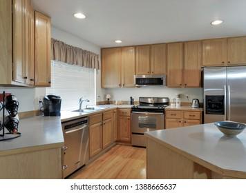 Kent, WA / USA - May 3, 2019: Luxury bedroom interior