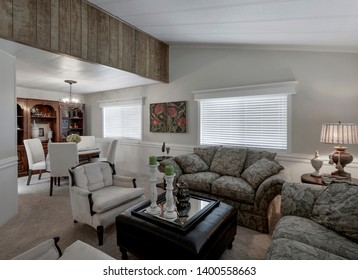 Kent, WA / USA - May 8, 2019: Modern living room and dining room interior