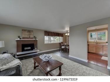 Kent, WA / USA - Oct. 4, 2018: Modern living room interior