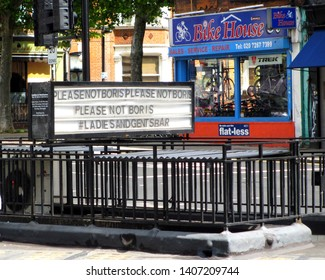 Kentish Town, London / UK - 05/25/2019: 'Please not Boris' sign above the Ladies and Gentleman bar prior to 2019 Tory leadership contest.
