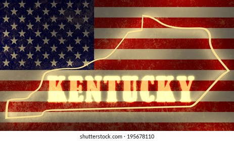 kentucky neon shining outline map of the on national flag backdrop