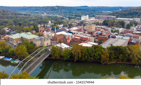 The Kentucky River meanders along framing the downtown urban core of Frankfort KY - Shutterstock ID 1541574944