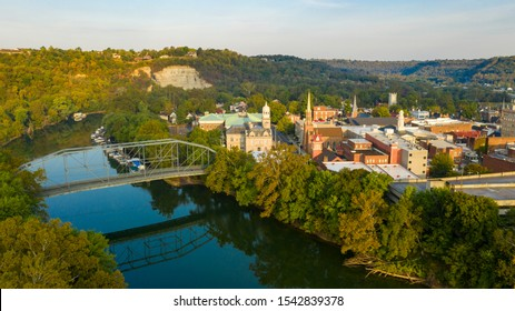 The Kentucky River meanders along framing the downtown urban core of Frankfort KY