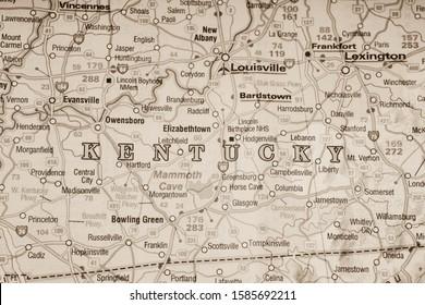Kentucky state on usa map background