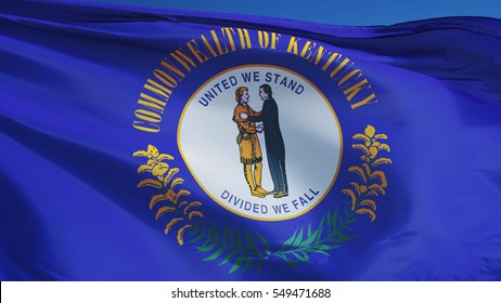 Kentucky (U.S. state) flag waving against clear blue sky, close up, isolated with clipping path mask alpha channel transparency, perfect for film, news, composition