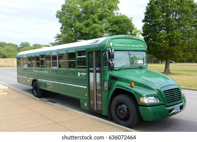 KENTUCKY, USA - SEP. 28, 2015: Shuttle Bus in Mammoth Cave National Park near the visitors center, Kentucky, USA. This national park is also UNESCO World Heritage Site since 1981.