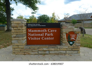 KENTUCKY, USA - SEP. 28, 2015: Sign of Mammoth Cave National Park near the visitors center, Kentucky, USA. This national park is also UNESCO World Heritage Site since 1981.