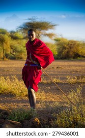 Kenya 2015 january 29 . Masai shepherd on the kilimanjaro background in Amboseli