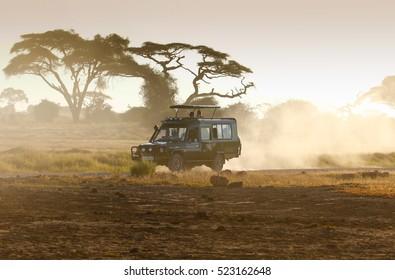 Kenya 2016 Year. March 25 . Jeep safari in Amboseli National Park Kenya