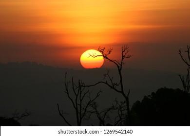 Kenya, Aberdare National Park, Kenya Sunset at treetops lodge