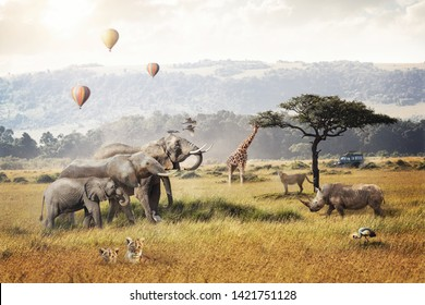 Kenya Africa safari dream trip scene with wildlife animals together in a grassland field with hot air balloons and game drive tourist vehicle.