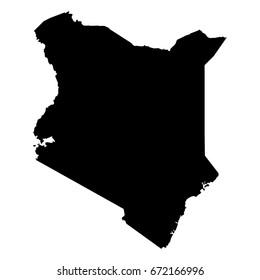 Kenya Black Silhouette Map Outline Isolated on White 3D Illustration