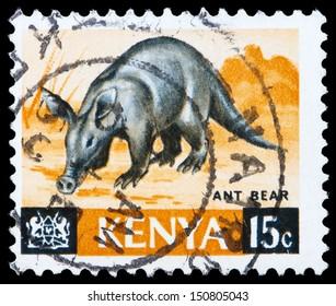 KENYA - CIRCA 1966: A stamp printed in Kenya shows ant bear, circa 1966
