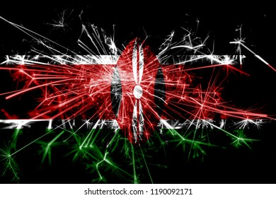 Kenya fireworks sparkling flag. New Year 2019 and Christmas party concept