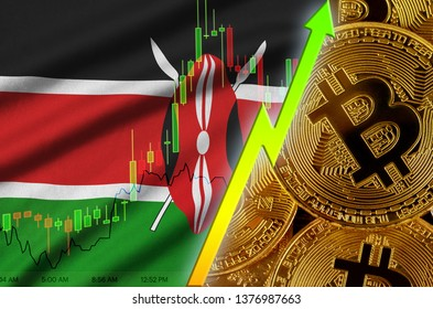 Kenya flag and cryptocurrency growing trend with many golden bitcoins