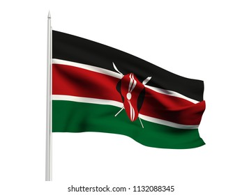 Kenya flag floating in the wind with a White sky background. 3D illustration.