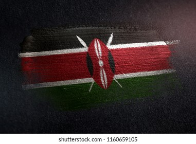 Kenya Flag Made of Metallic Brush Paint on Grunge Dark Wall