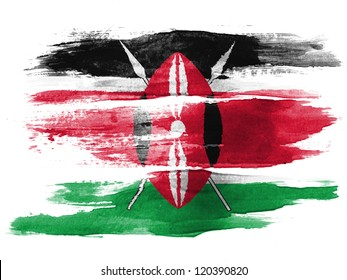 Kenya flag painted on white paper with watercolor