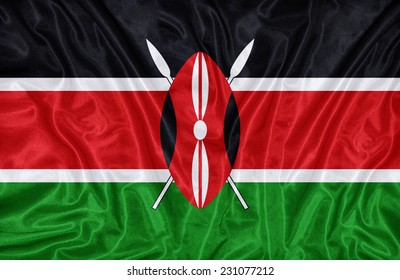 Kenya flag pattern on the fabric texture ,vintage style