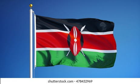 Kenya flag waving against clean blue sky, close up, isolated with clipping path mask alpha channel transparency