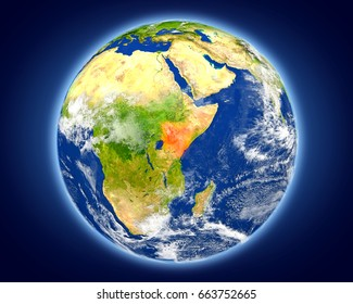 Kenya highlighted in red on planet Earth. 3D illustration with detailed planet surface. Elements of this image furnished by NASA.