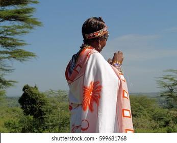 KENYA - JUNE 2011: Maasai woman beading