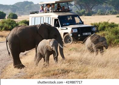 Kenya - March 22, 2016: Elephants and jeep safari On the Amboseli National Park Road Kenya