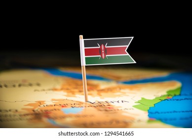 Kenya marked with a flag on the map