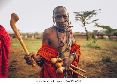 KENYA, MASAI MARA NATIONAL RESERVE - OCTOBER 19, 2016: Masai village with masai tribe, Editorial