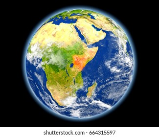 Kenya on planet Earth. 3D illustration with detailed planet surface. Elements of this image furnished by NASA.