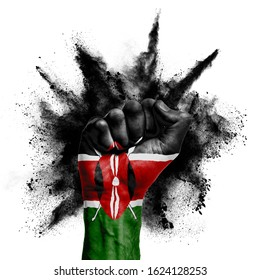 Kenya raised fist with powder explosion, power, protest concept
